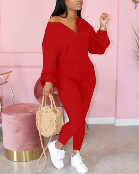 Solid Zip Up Round Neck Long Sleeve Jumpsuit