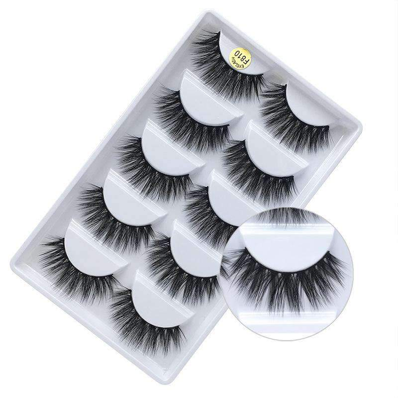 5 Pairs Mink Hair False Fake Eyelashes Cross Thick Eye Lashes F810