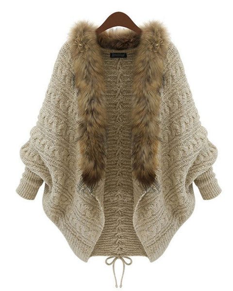 Cable Knit Batwing Sleeve Faux Fur Cardigan