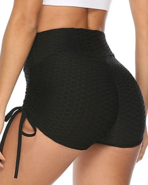 Solid Textured Tie Side Butt Lifting Shorts