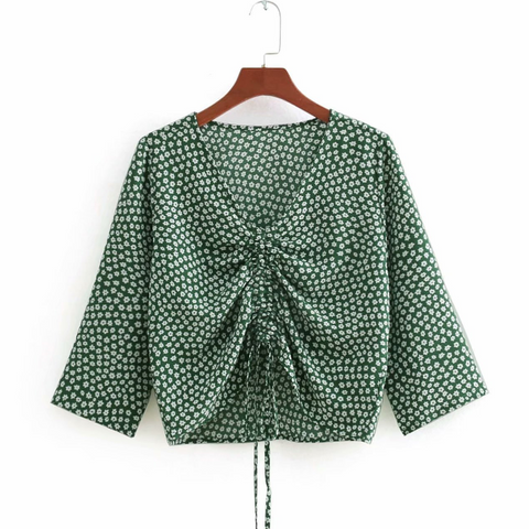 V-neck Drawstring Ruched Print Blouse gallery 4