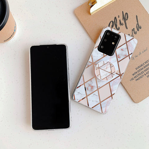 Marble Electroplated Detail Phone Case for Samsung with Phone Holder gallery 12