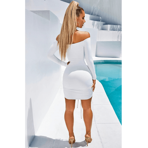 Solid Off Shoulder Drawstring Front Long Sleeve Mini Dress gallery 5