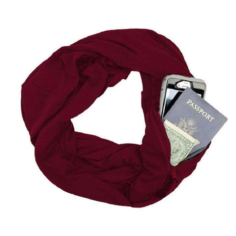 New Unisex Autumn Winter Scarves Solid Color Warm Windproof Scarf With Zipper Pocket Storage Bag gallery 6