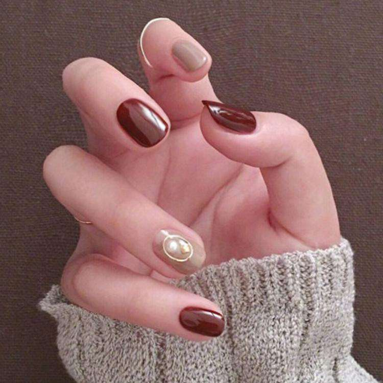 New Year Wine Velvet Magic Press On Nail Manicure