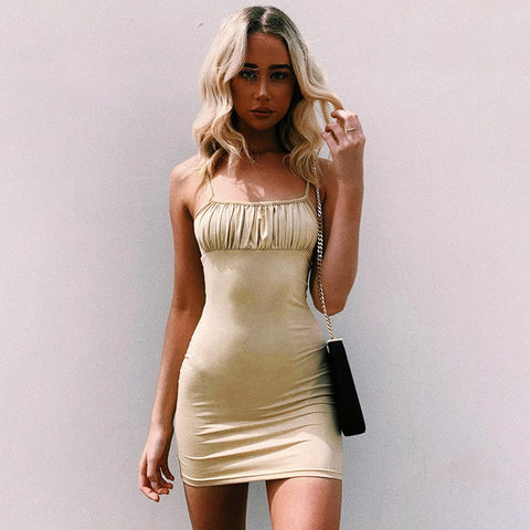 Spaghetti Strap Ruched Bust Mini Dress