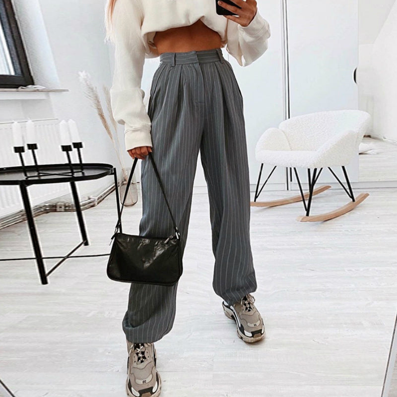 Vertical Striped Pleated Pants