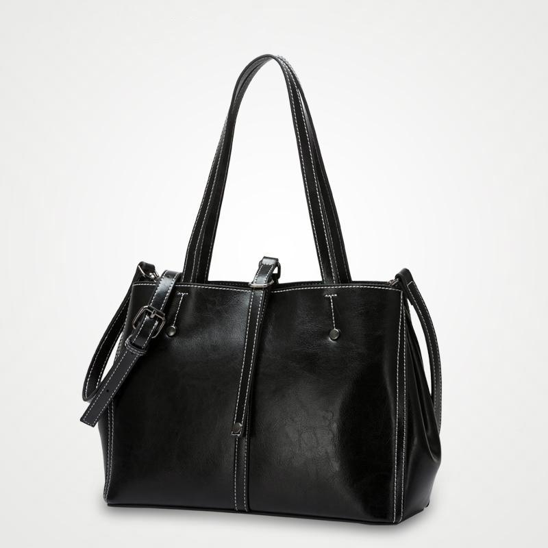 Front Button Leather Tote Bag