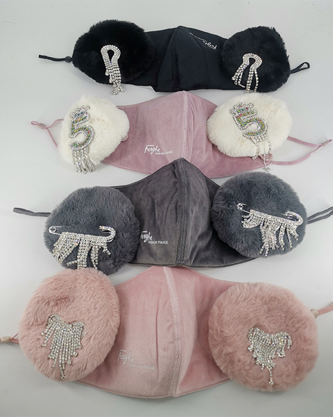 Letter Embroidery Rhinestone Tassels Decor Detachable Earmuff Mask gallery 9