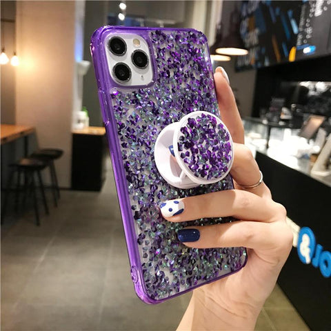 Four Colors Glittering Rhinestone Phone Case for Samsung with Phone Holder gallery 4