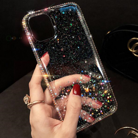 Clear Flowing Glitter Rhinestone Deco Phone Case for Samsung gallery 3