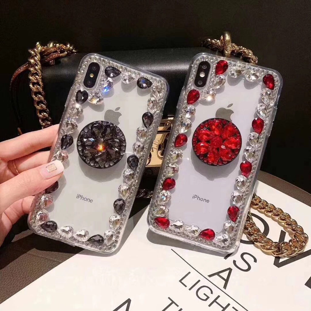 Ring Rhinestone Phone Case for Samsung with Phone Holder
