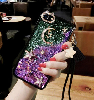 Luxury Moon & Star Liquid Bling Glitter Samsung Case with Hand Strap
