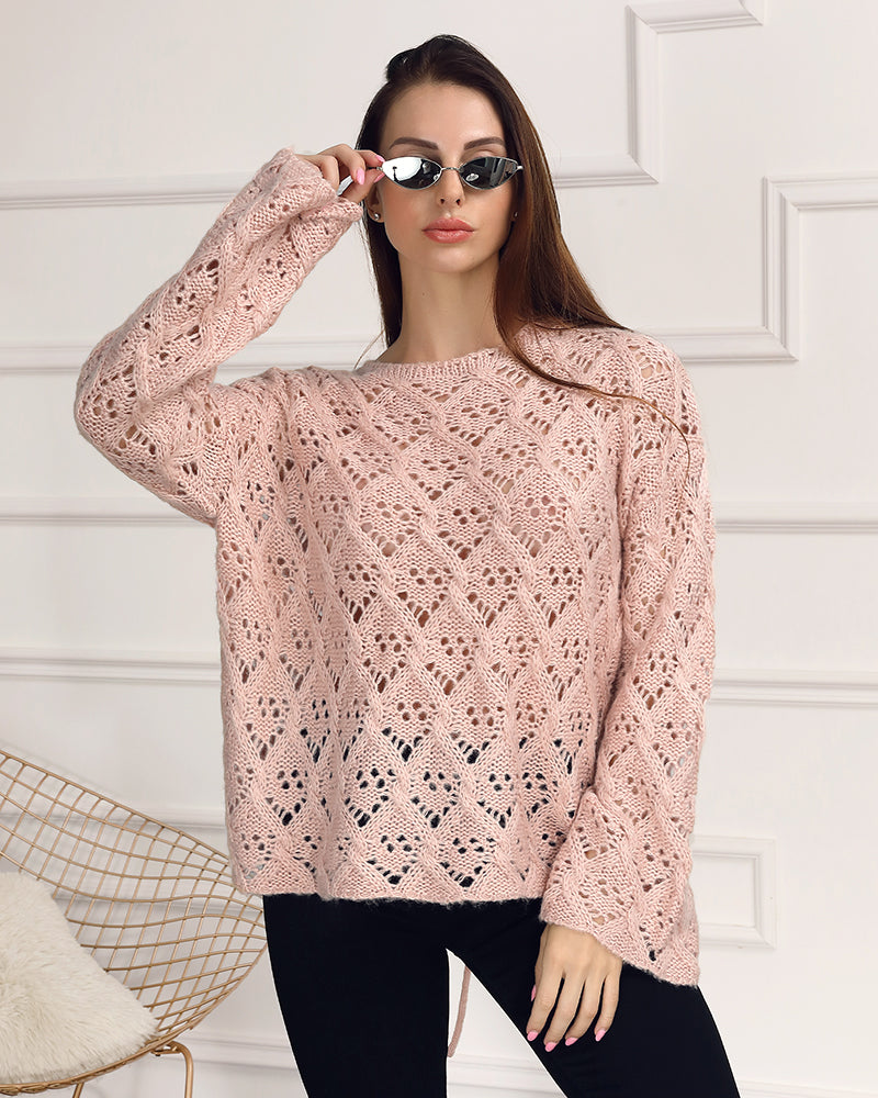Extra Soft Pointelle Knit Tie Back Sweater