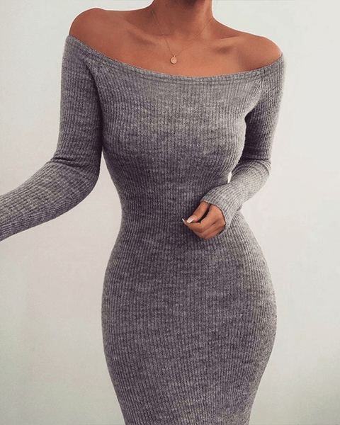 Solid Color Off Shoulder Ribbed Knitted Bodycon Dress