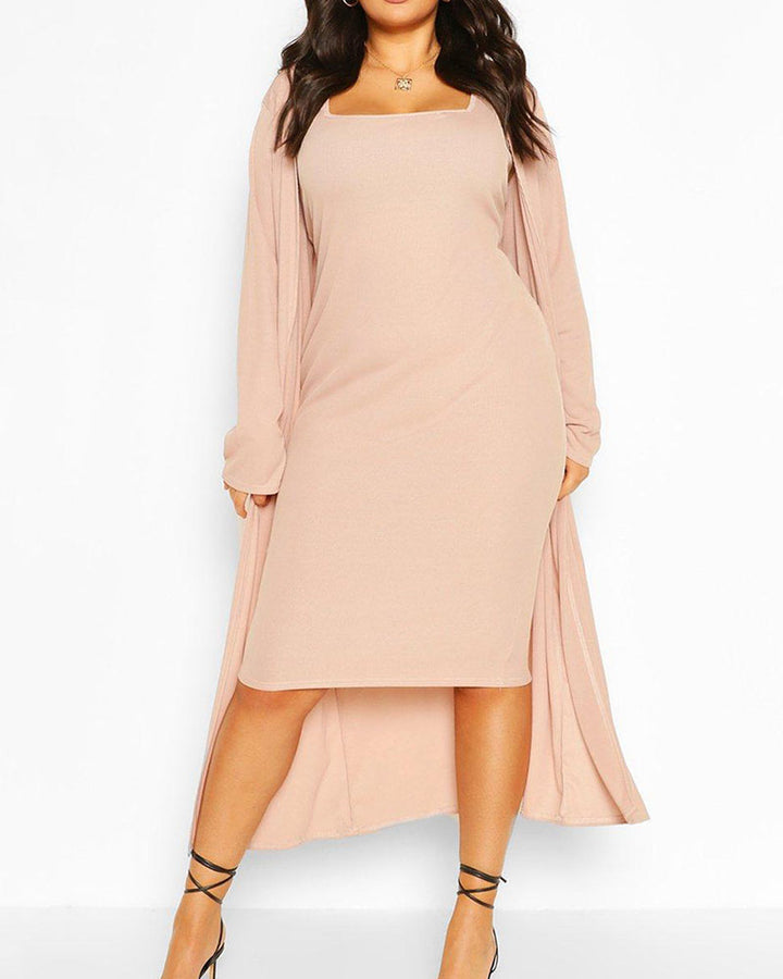 Solid Square Neck Dress & Cardigan Set gallery 5