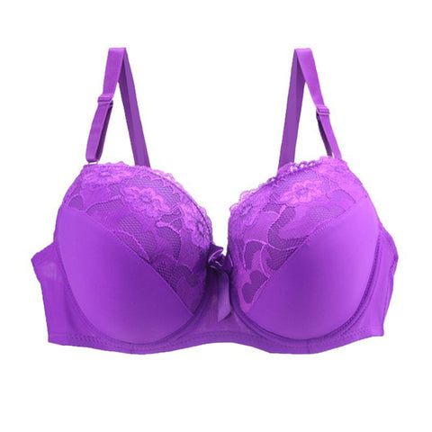 Sexy Fit Floral Lace Deep V Push-up Underwire Bra in Purple