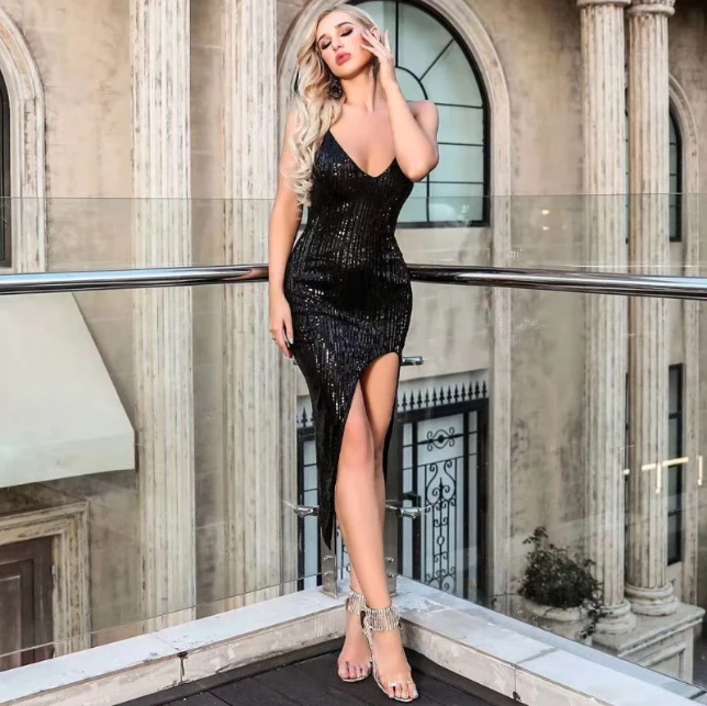 Sexy Sequins Deep V Split Party Dress