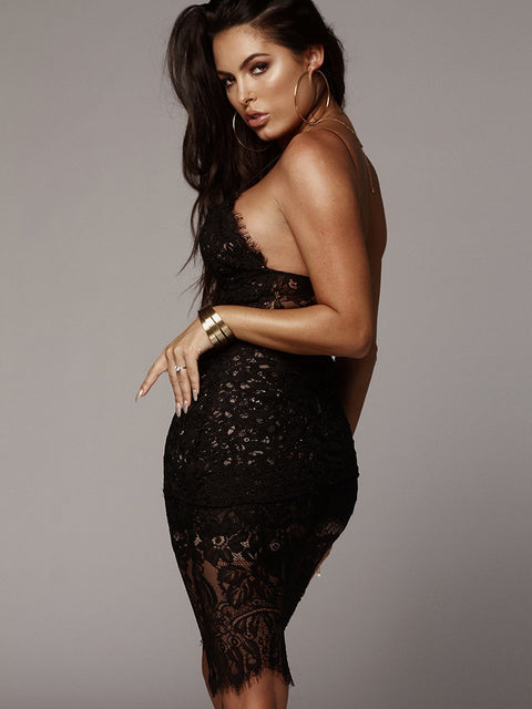 Sexy V-neck Lace See Through Midi Dress gallery 14