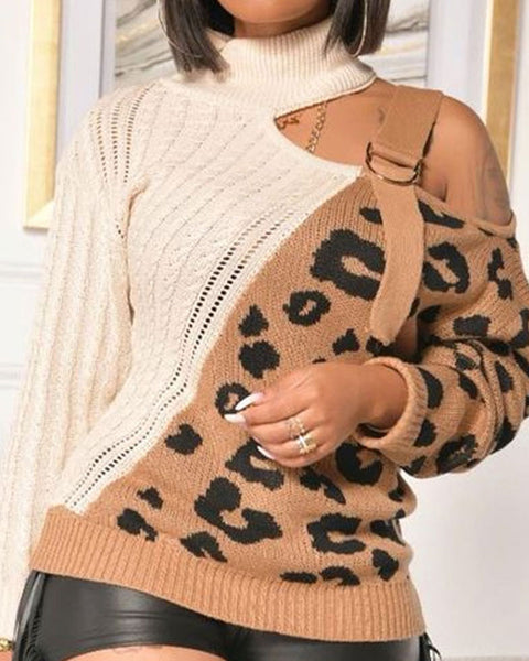Colorblock Leopard Print Chunky Knit Asymmetrical Neck Sweater