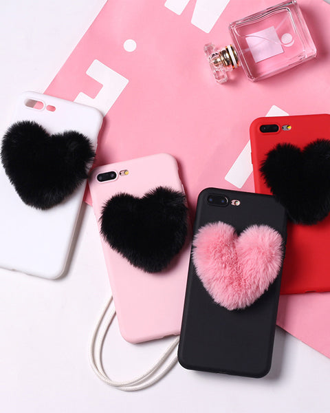 Posh Colorblock Fluffy Pom-pom Decorated iPhone Case