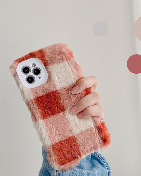 Chic Fluffy Colorblock Plaid Pattern iPhone Case