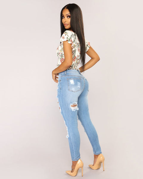 Mid Waist Elastic Extreme Ripped Jeans gallery 5