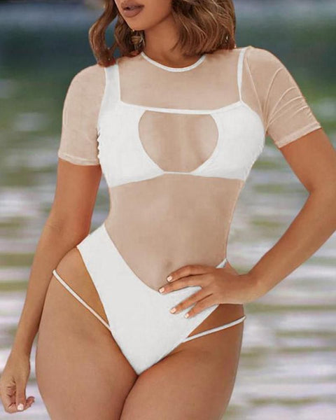 Sheer Mesh Cutout One Piece Swimsuit gallery 5