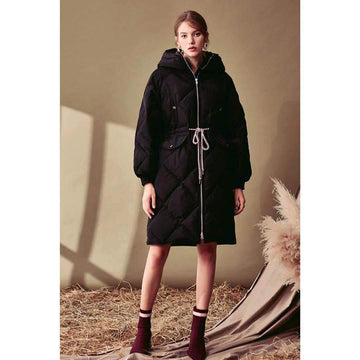 Black Hooded Slimmy Mid-Long Rhombus Padded Snapped Waist Puffer Jacket