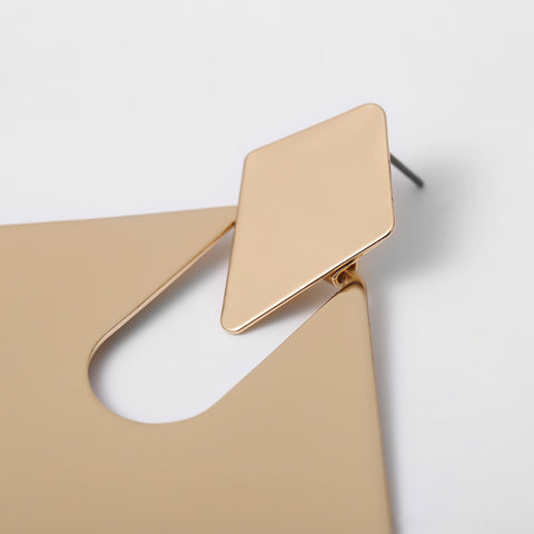 Gold Square Shape Cut Out Drop Earrings gallery 6