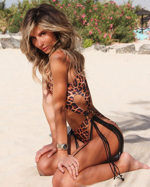 Leopard Cut-Out Ring Linked Fringe Monokini gallery 4