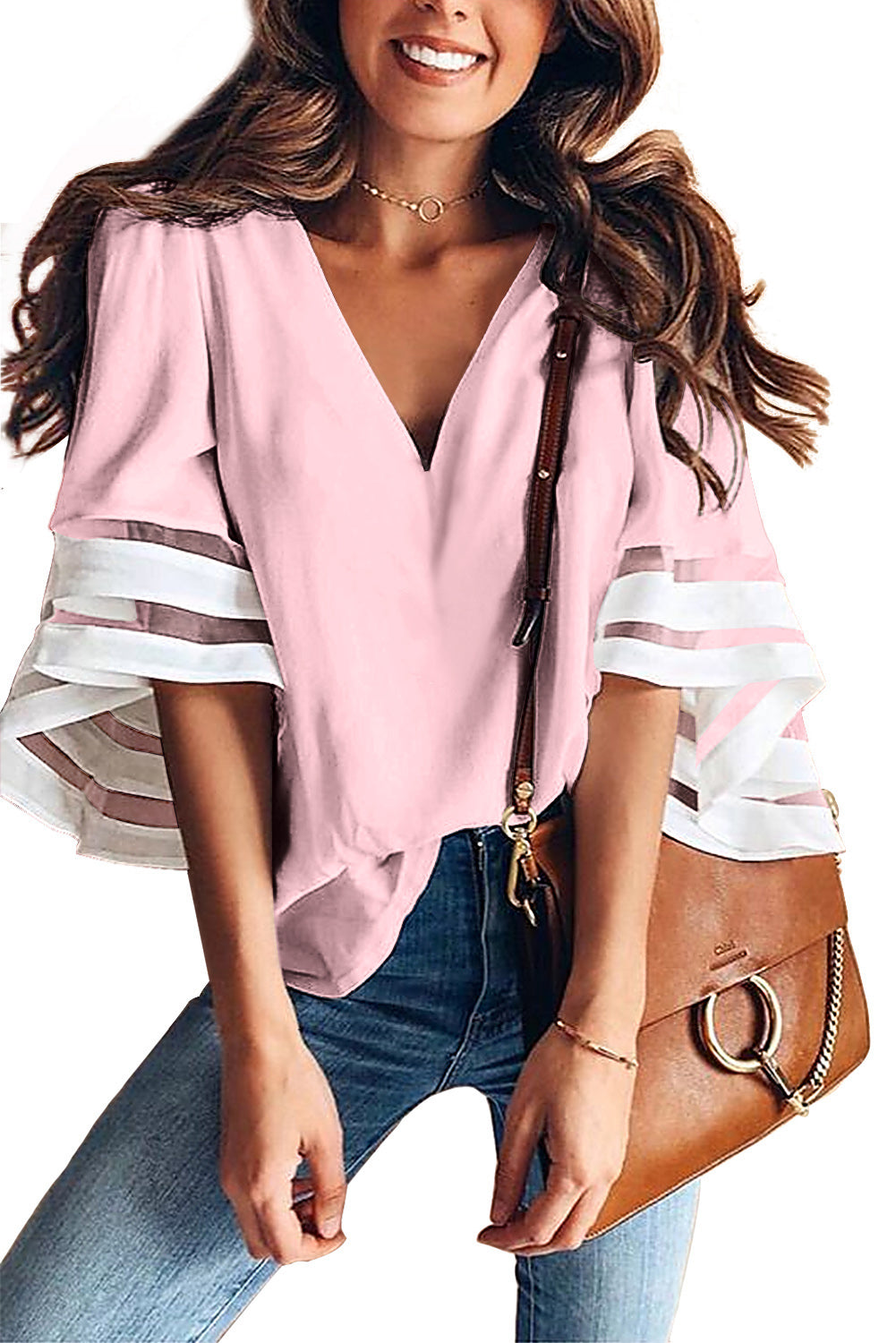 Pink Contrast Color Flare Sleeve V Neck Loose Blouse