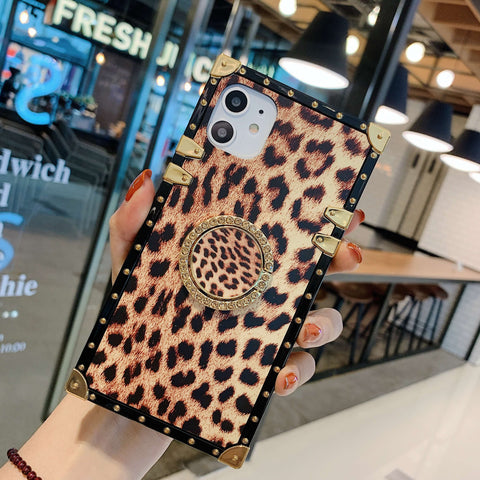 Leopard Print Rivet Deco Square Phone Case for Samsung with Phone Holder gallery 2
