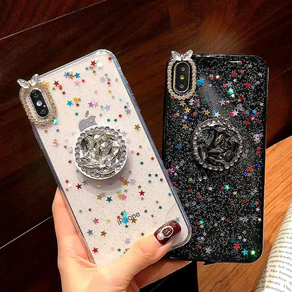 Sparkling Print Soft Phone Case For Apple iPhone with Phone Holder