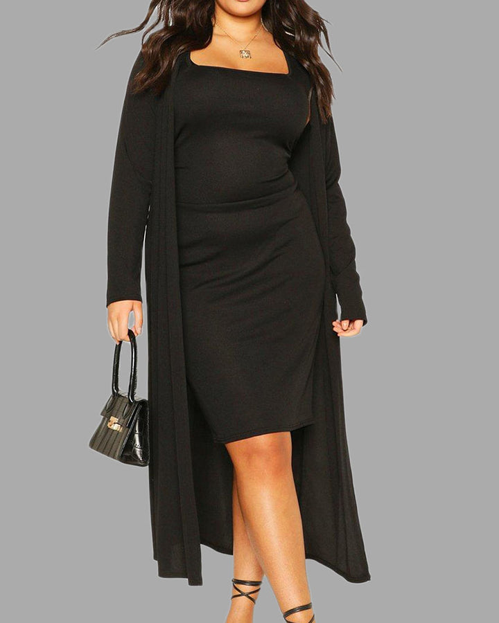 Solid Square Neck Dress & Cardigan Set gallery 2