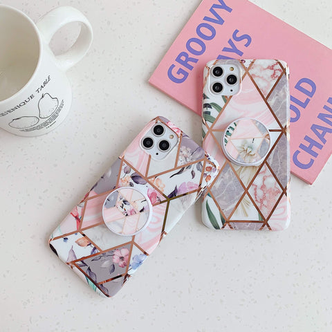 Rhombus Stitching Marble Phone Case for Samsung with Phone Holder gallery 4