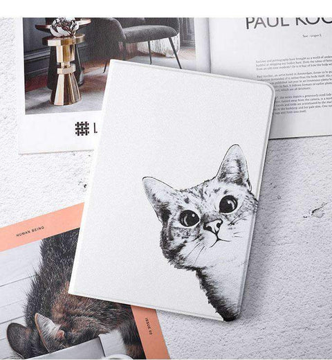 Cute Curious Cat Painted Magnetic Flip Apple iPad Cover Case gallery 2
