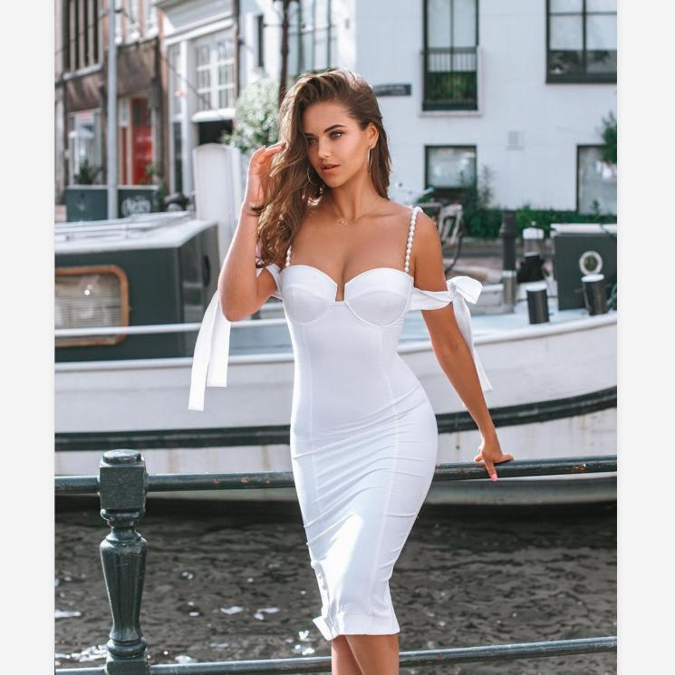 Convertible Straps And Shoulder Sleeves Bustier Midi Dress