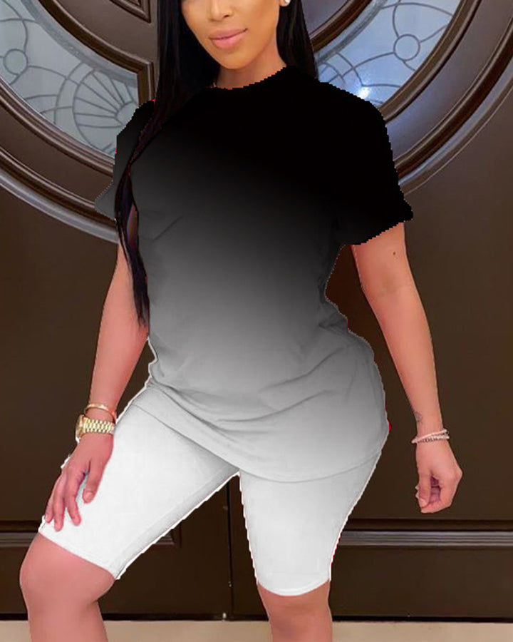 Ombre Short Sleeve Top & Shorts Set gallery 4