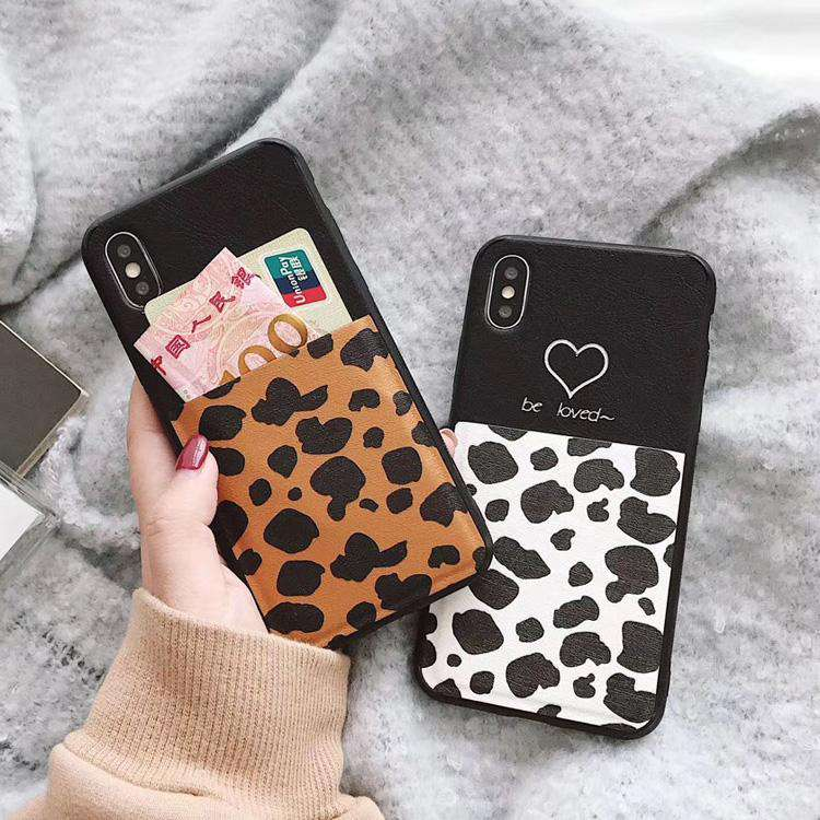 Leopard Print Cell Phone Case with Card Holder for iPhone