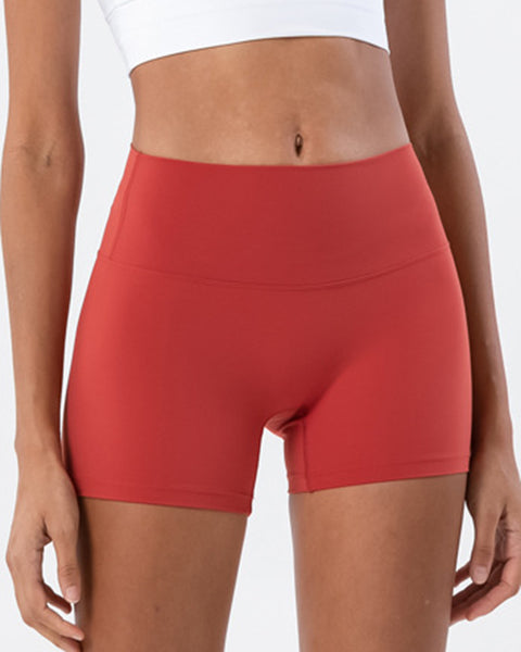 Solid High Waist Sports Shorts gallery 3