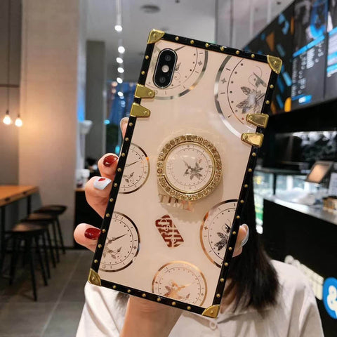 Clock Design Square iPhone Case with Phone Holder