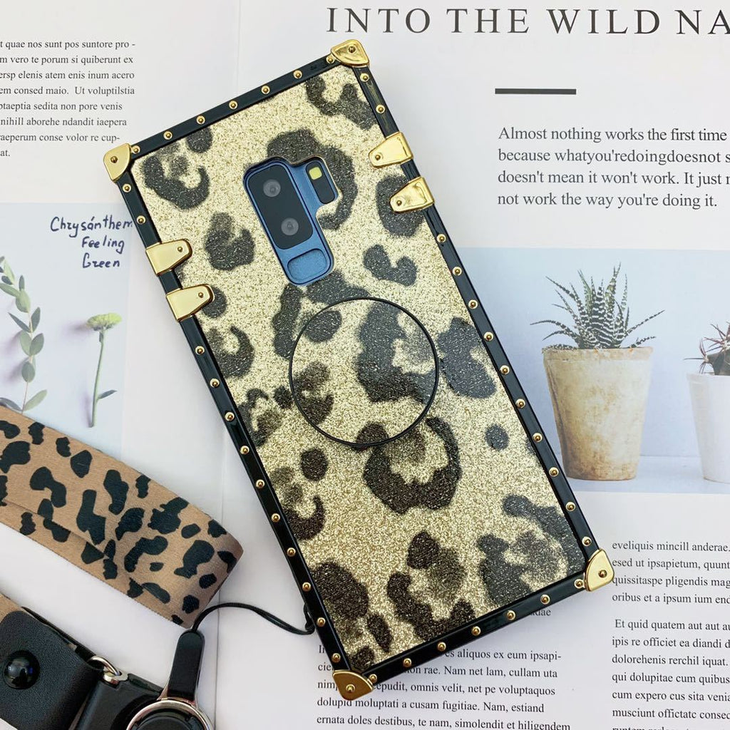 Luxury Leopard Pattern Phone Case for Samsung with Phone Holder and Hand Strap