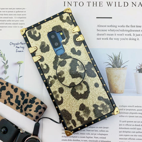 Luxury Leopard Pattern Phone Case for Samsung with Phone Holder and Hand Strap gallery 2