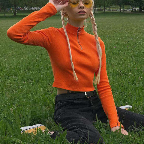 Orange Fitted Crop Top