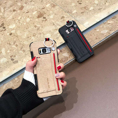 Luxury Lint Phone Case for Samsung with Wrist Strap gallery 3