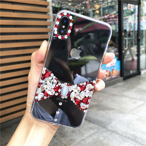 Bowknot Rhinestone Clear Transparent Phone Case for Samsung gallery 8