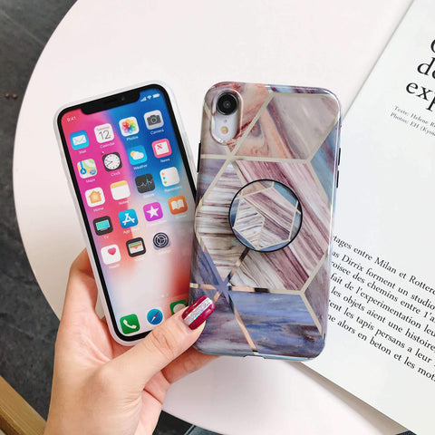 Rhombus Electroplate Marble Phone Case for Samsung with Phone Holder gallery 5