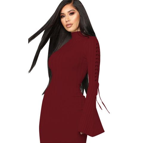 Solid Color Lace-Up Detail Ribbed Flare Sleeve Knitted Dress
