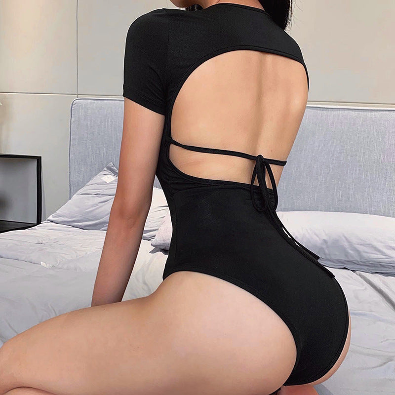 Ribbed Crew Neck Tie Back Backless Bodysuit